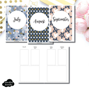 Personal Wide Rings Size | JUL - SEP 2019 Basic Vertical Week on 4 Page (Monday Start) Layout Printable Insert ©