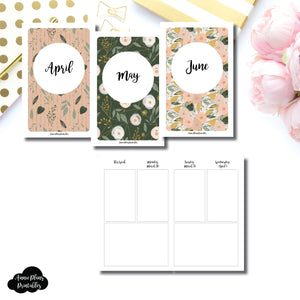 Pocket TN Size | APR - JUN 2020 Basic Vertical Week on 4 Page (Monday Start) Layout Printable Insert ©