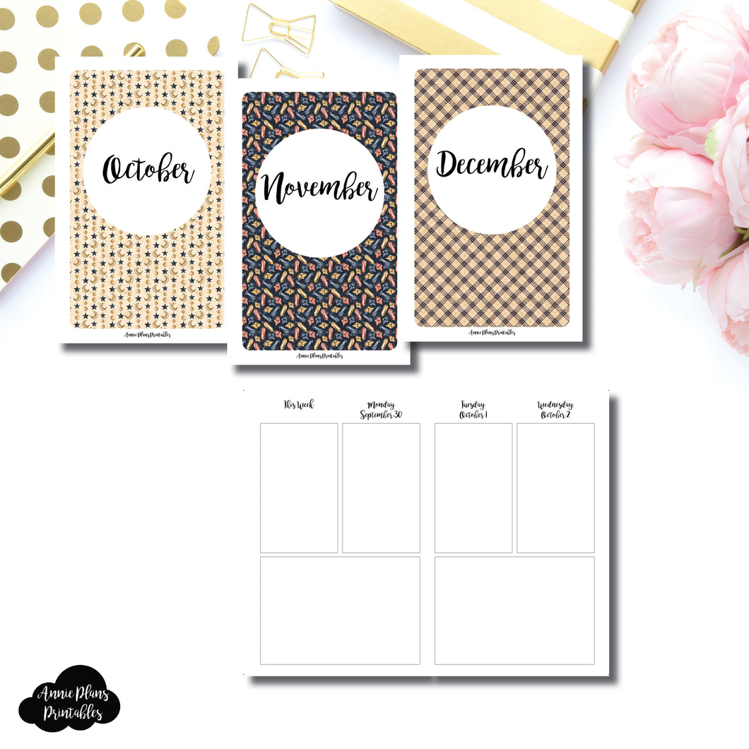 Pocket TN Size | OCT - DEC 2019 Basic Vertical Week on 4 Page (Monday Start) Layout Printable Insert ©