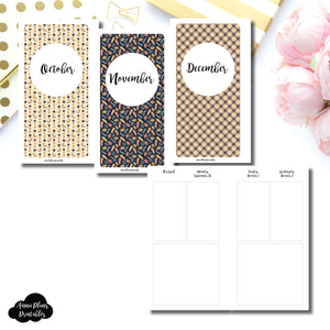 Personal Rings Size | OCT - DEC 2019 Basic Vertical Week on 4 Page (Monday Start) Layout Printable Insert ©