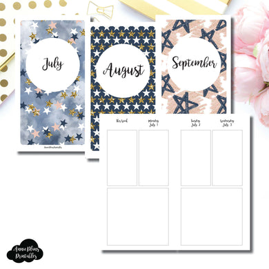 Personal TN Size | JUL - SEP 2019 Basic Vertical Week on 4 Page (Monday Start) Layout Printable Insert ©