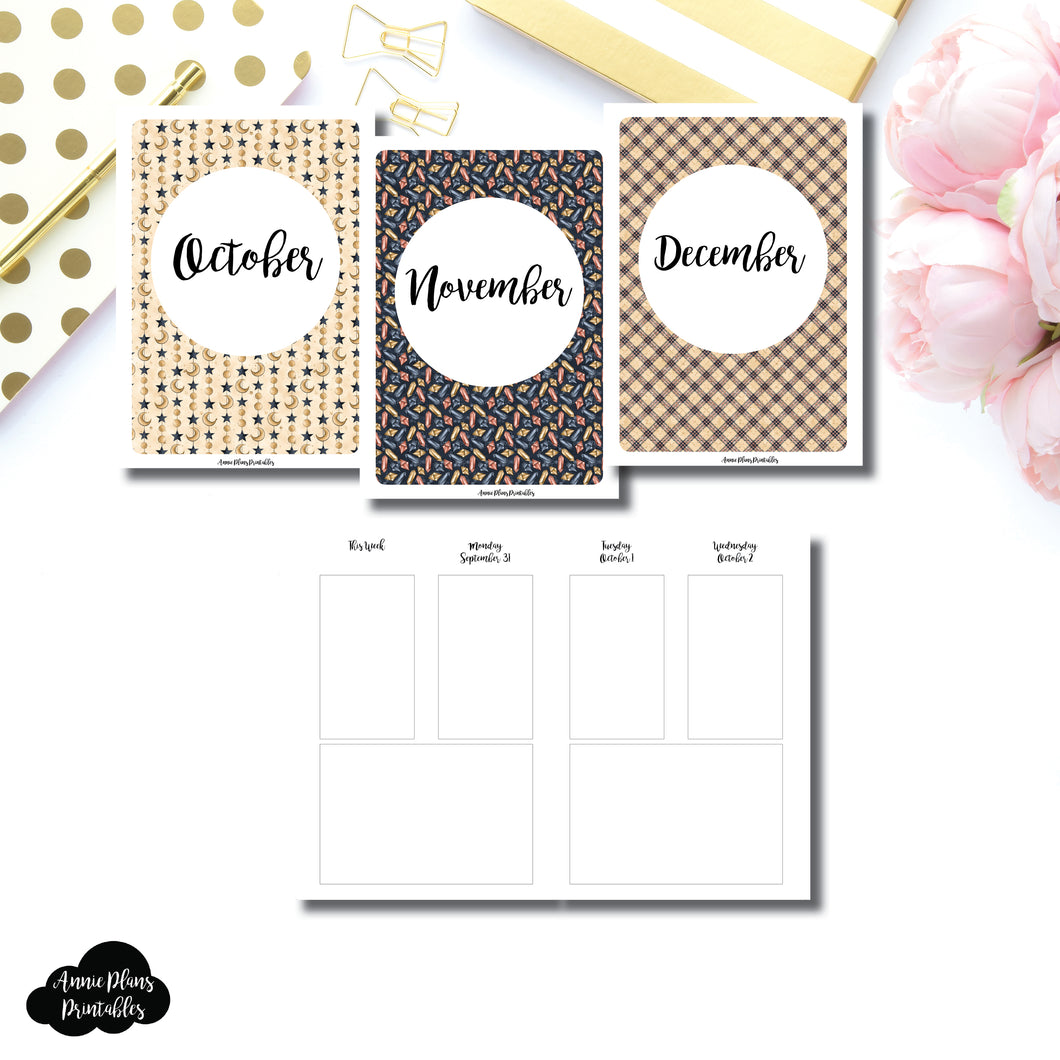 A6 TN Size | OCT - DEC 2019 Basic Vertical Week on 4 Page (Monday Start) Layout Printable Insert ©