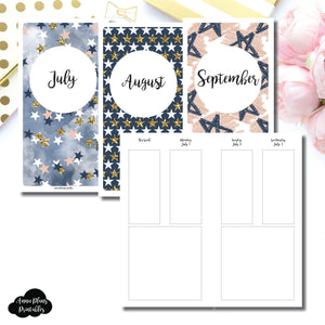 Standard TN Size | JUL - SEP 2019 Basic Vertical Week on 4 Page (Monday Start) Layout Printable Insert ©