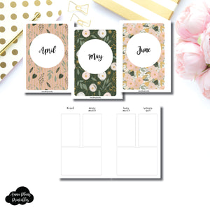A6 Rings Size | APR - JUN 2020 Basic Vertical Week on 4 Page (Monday Start) Layout Printable Insert ©