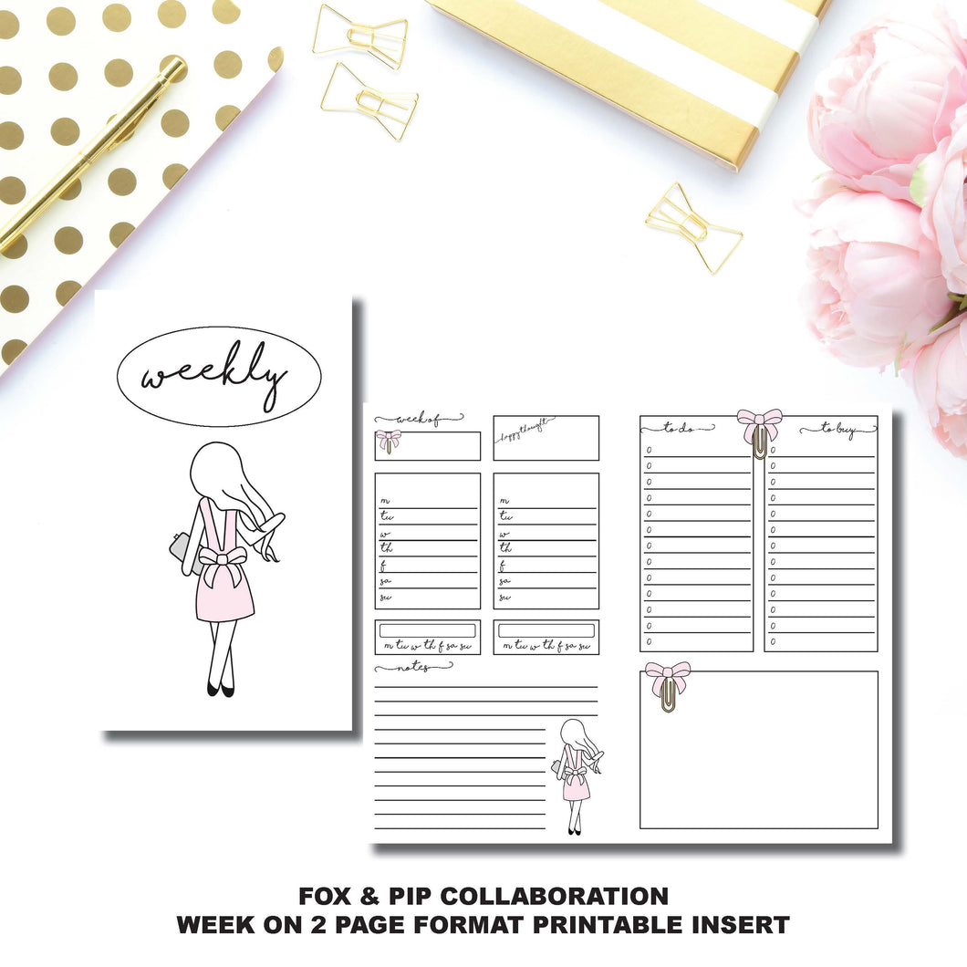 CAHIER TN Size | FOX&PIP Collaboration - Week on 2 Page Printable Insert ©
