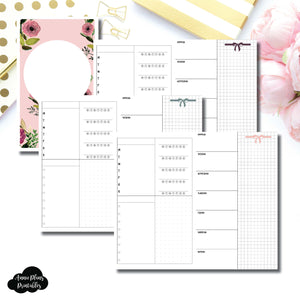 Half Letter Rings Size | Undated Week on 2 Page Layout Printable Insert ©