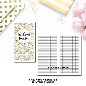 Pocket TN Size | CHECKBOOK REGISTER Printable Insert ©