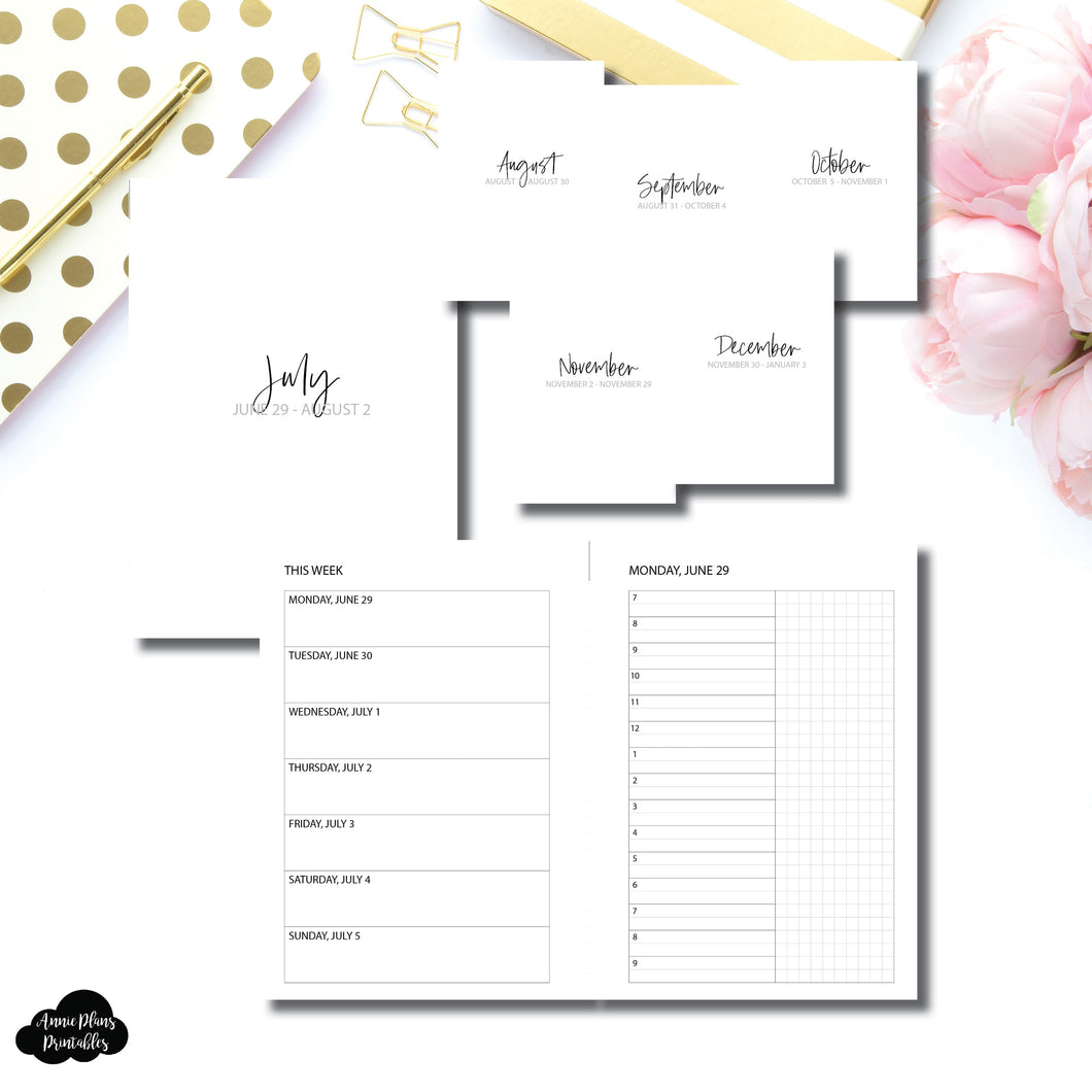 A6 Rings Size | SIMPLE JUL - DEC 2020 Bundle: Weekly/Daily TIMED Printable Insert