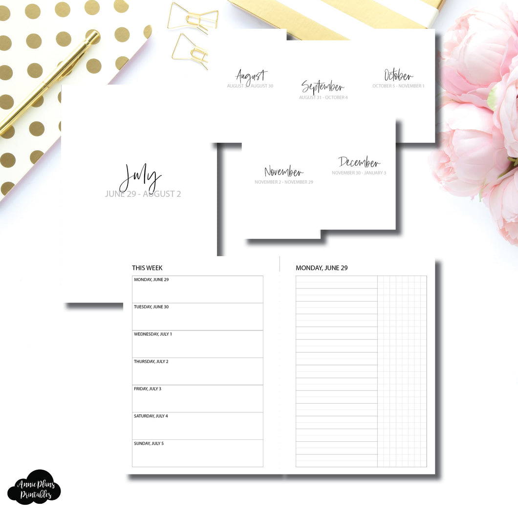 Personal Wide Rings Size | SIMPLE JUL - DEC 2020 Bundle: Weekly/Daily UNTIMED Printable Insert