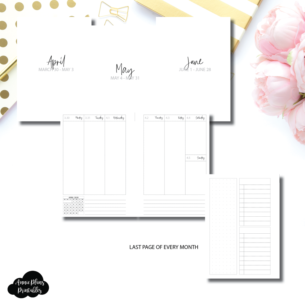 A6 Rings Size | Q2 APR - JUN 2020 Weekly Vertical Printable Insert