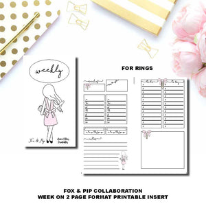 Personal Rings Size | FOX&PIP Collaboration - Week on 2 Page Printable Insert ©
