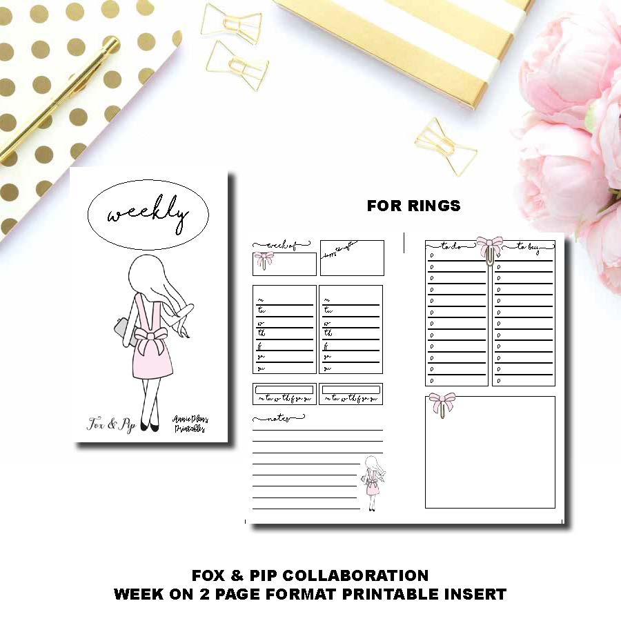 Personal Wide Rings Size | FOX&PIP Collaboration - Week on 2 Page Printable Insert ©
