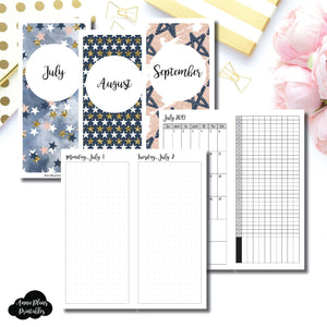 H Weeks Size | 2019 JUL - SEP | FULL Month Daily (DOT GRID) | Printable Insert ©