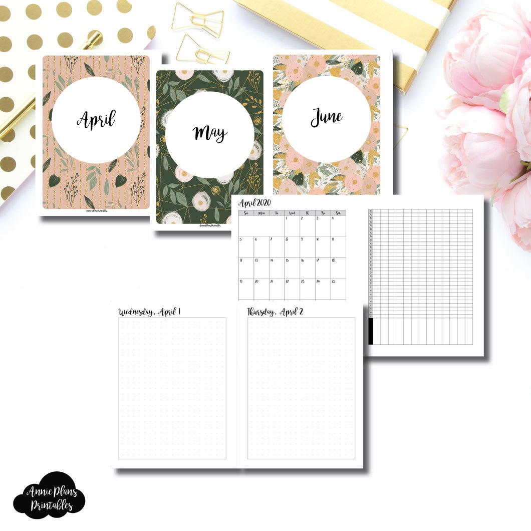 B6 Rings Size | 2020 APR - JUN | FULL Month Daily (DOT GRID) | Printable Insert ©