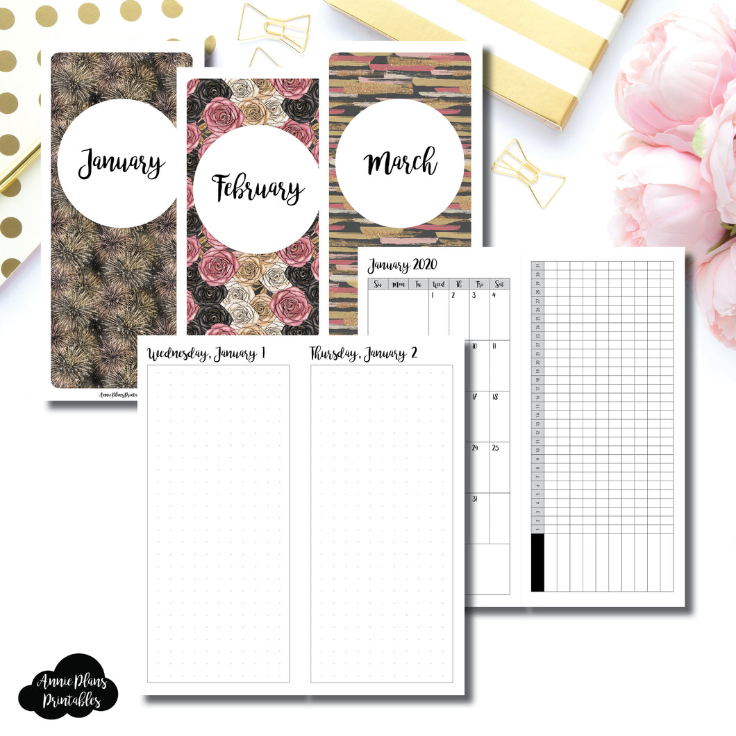 H Weeks Size | 2020 JAN - MAR | FULL Month Daily (DOT GRID) | Printable Insert ©