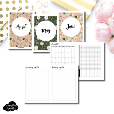 A6 TN Size | 2020 APR - JUN | FULL Month Daily (DOT GRID) | Printable Insert ©