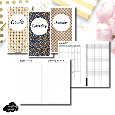 Personal Rings Size | 2019 OCT - DEC | FULL Month Daily (DOT GRID) | Printable Insert ©