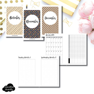 Pocket Rings Size | 2019 OCT - DEC | FULL Month Daily (DOT GRID) | Printable Insert ©