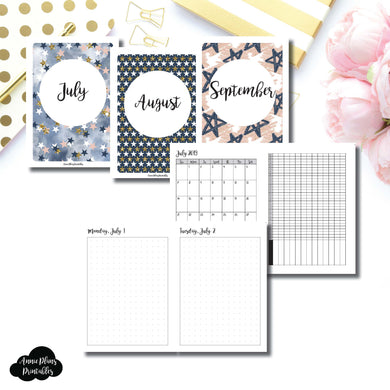 A6 TN Size | 2019 JUL - SEP | FULL Month Daily (DOT GRID) | Printable Insert ©