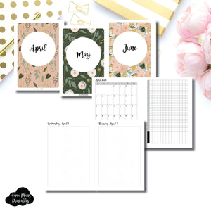 Personal Wide Rings Size | 2020 APR - JUN | FULL Month Daily (DOT GRID) | Printable Insert ©