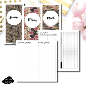 HWeeks Wide Size | 2020 JAN - MAR | FULL Month Daily (DOT GRID) | Printable Insert ©
