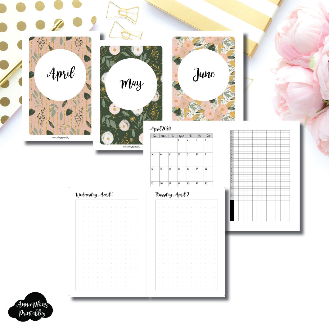 A6 Rings Size | 2020 APR - JUN | FULL Month Daily (DOT GRID) | Printable Insert ©