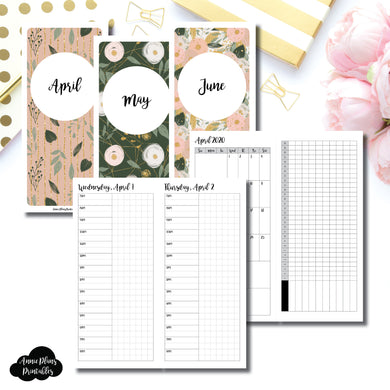 H Weeks Size | 2020 APR - JUN | FULL Month Daily TIMED | Printable Insert ©