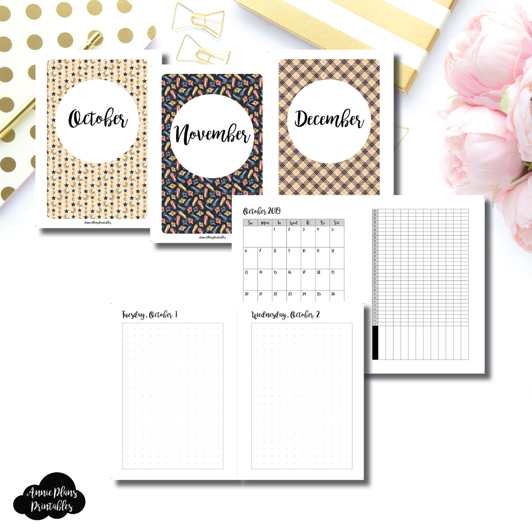A6 Rings Size | 2019 OCT - DEC | FULL Month Daily (DOT GRID) | Printable Insert ©