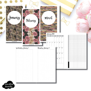 Personal Rings Size | 2020 JAN - MAR | FULL Month Daily (DOT GRID) | Printable Insert ©