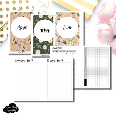 Pocket Plus Rings Size | 2020 APR - JUN | FULL Month Daily (DOT GRID) | Printable Insert ©