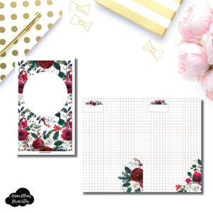 Half Letter Rings Size | Holiday Floral Grid Printable Insert ©