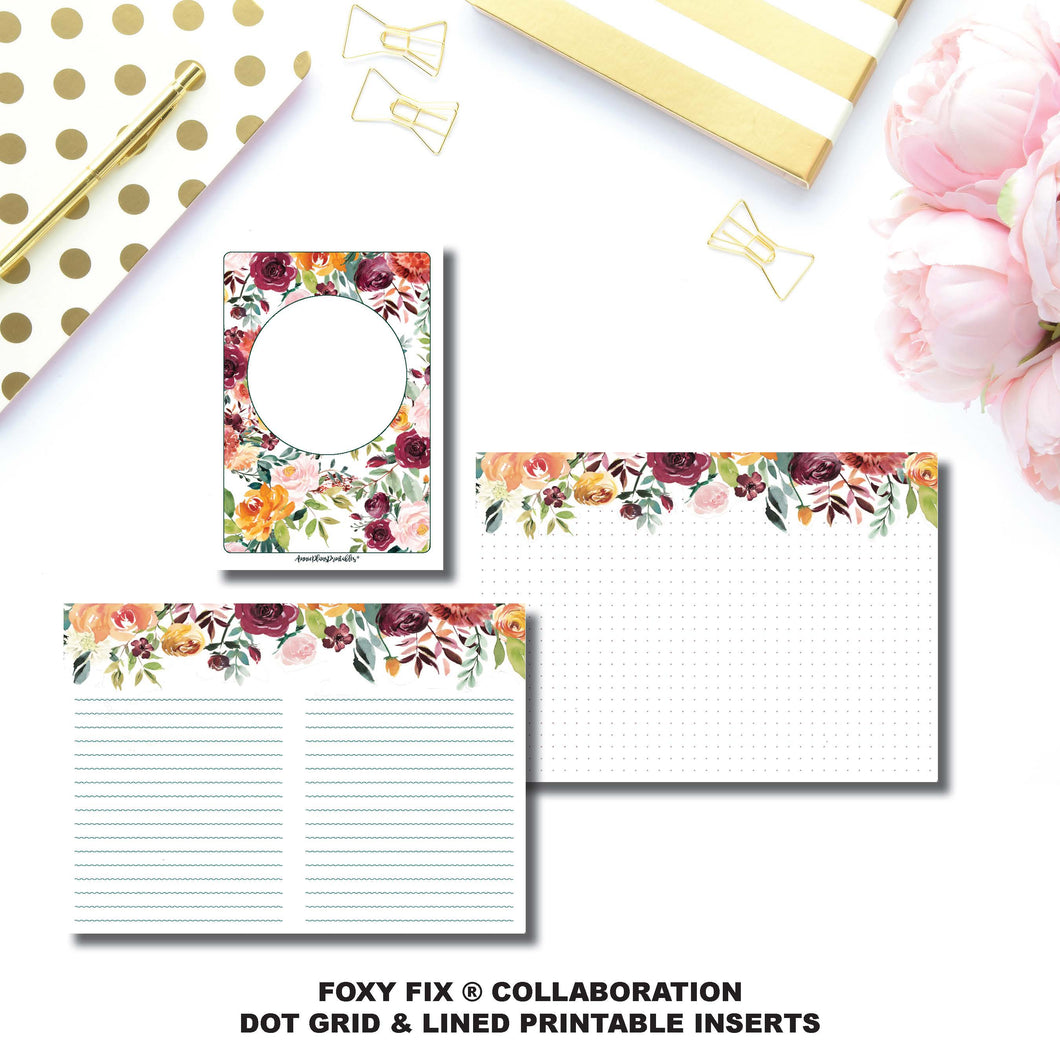Personal TN Size | Foxy Fix® Autumn Rose Collaboration Dot Grid & Lined Printable Inserts ©