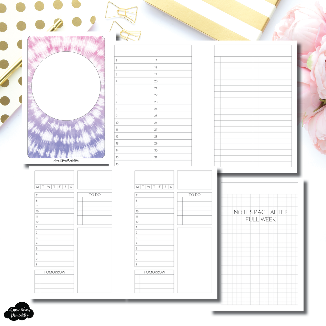A5 Rings Size | Full Month Undated Structured Daily + Additional Covers Printable Insert ©