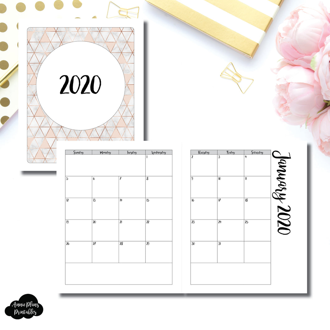 A5 Wide Rings Size | 2020 Monthly Calendar (SUNDAY Start) PRINTABLE INSERT ©