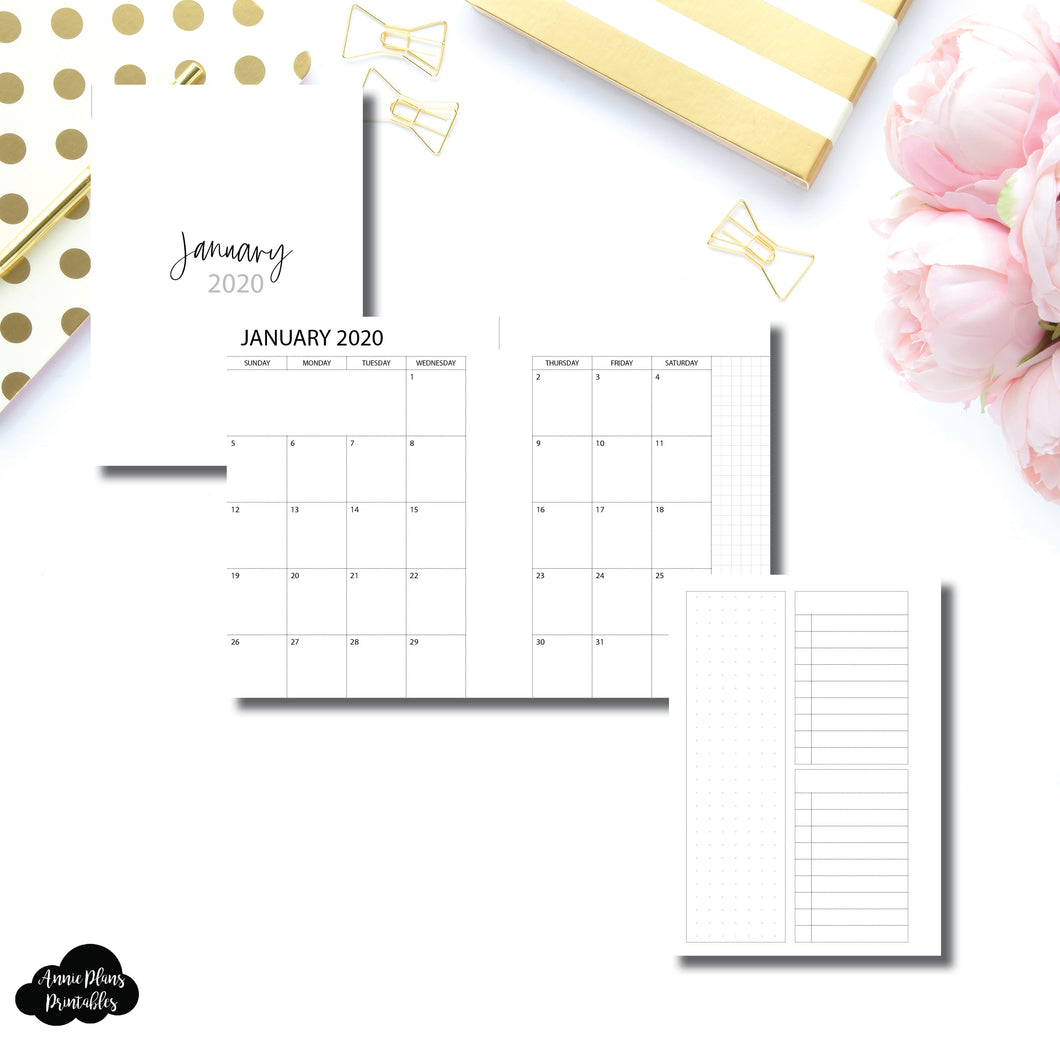 Pocket TN Size | 2020 Monthly With Cover & Notes Page Printable Insert