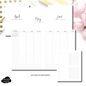 A5 Wide Rings Size | Q2 APR - JUN 2020 LINED Weekly Vertical Printable Insert