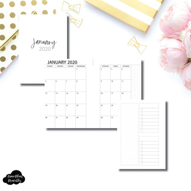 Pocket Plus Rings Size | 2020 Monthly With Cover & Notes Page Printable Insert
