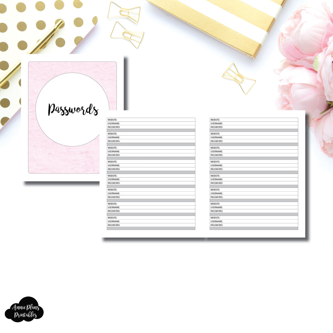 A5 Wide Rings SIZE | PASSWORD Printable Insert ©