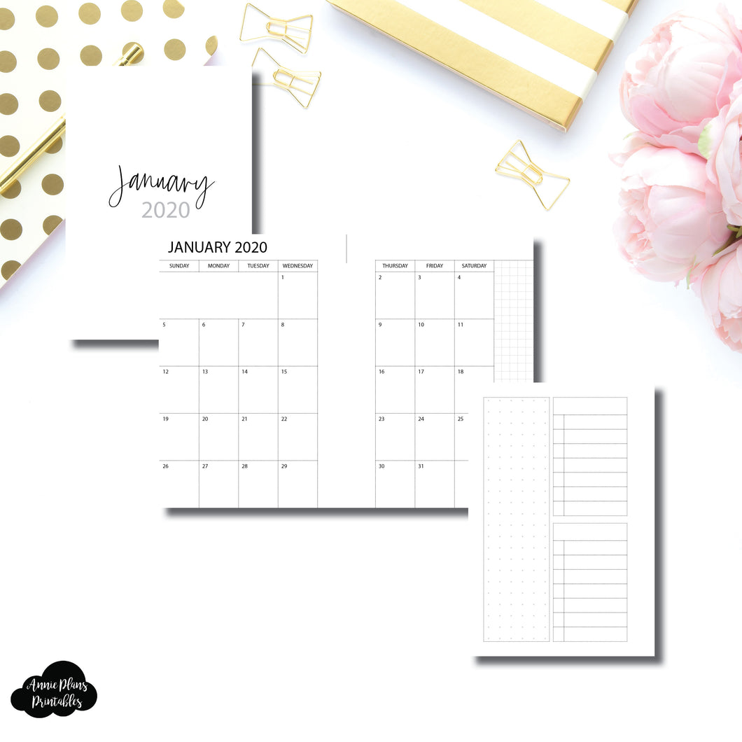 Pocket Rings Size | 2020 Monthly With Cover & Notes Page Printable Insert