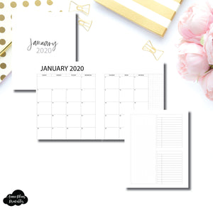 A5 Rings Size | 2020 Monthly With Cover & Notes Page Printable Insert