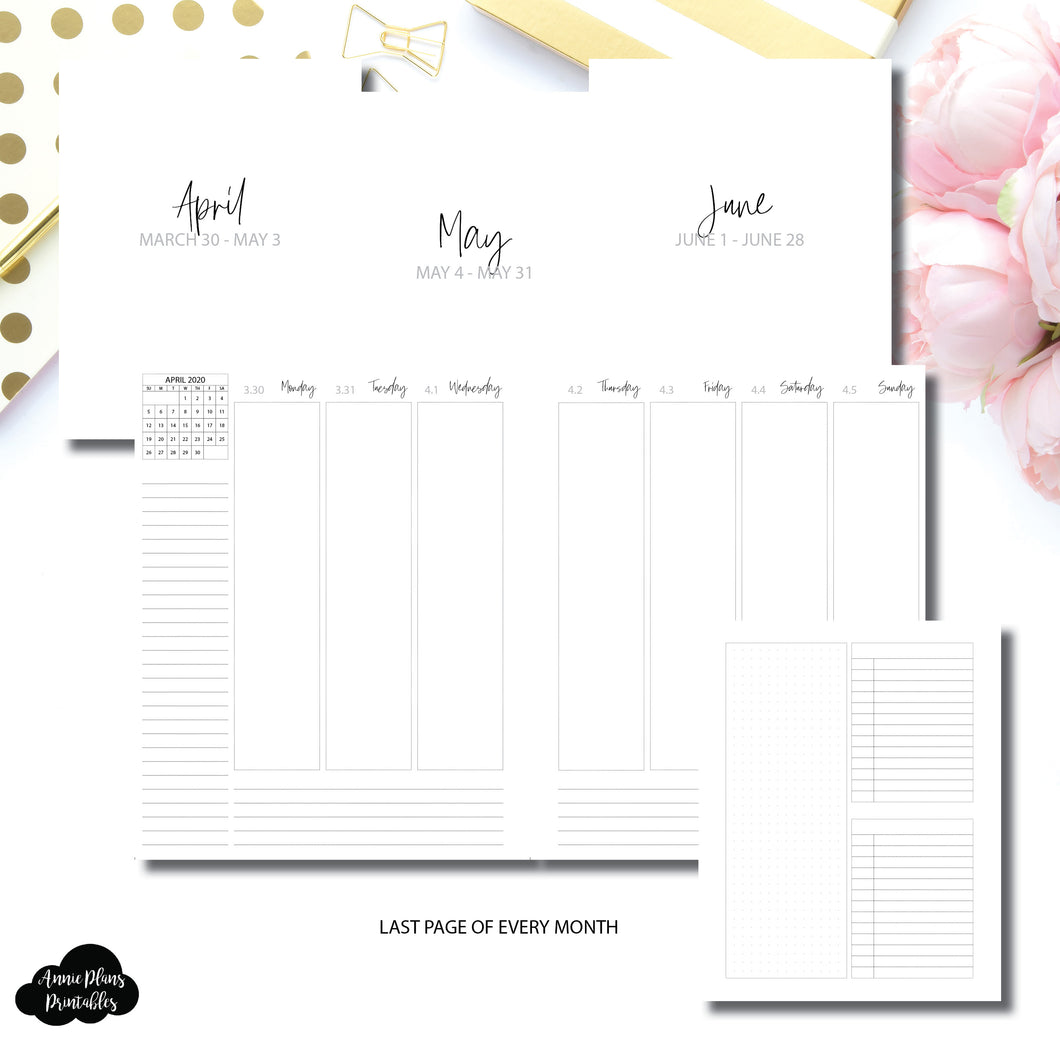 A5 Wide Rings Size | Q2 APR - JUN 2020 Weekly Vertical Printable Insert