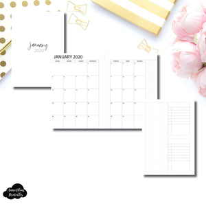 Personal Wide Rings Size | 2020 Monthly With Cover & Notes Page Printable Insert