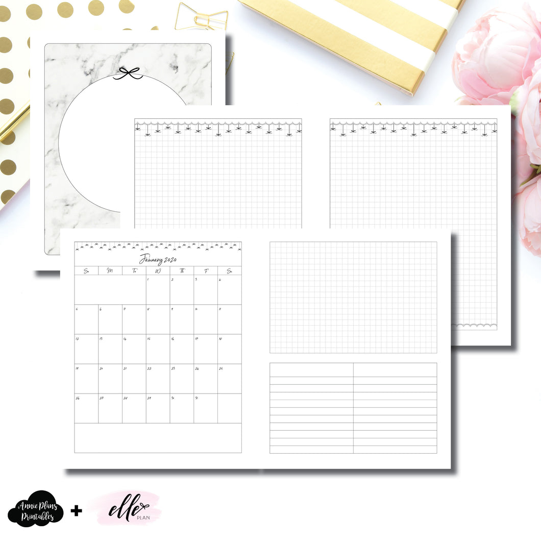 A5 Wide Rings Size | 12 Month (JAN 2020 - DEC 2020) EllePlan Collaboration Printable Insert ©