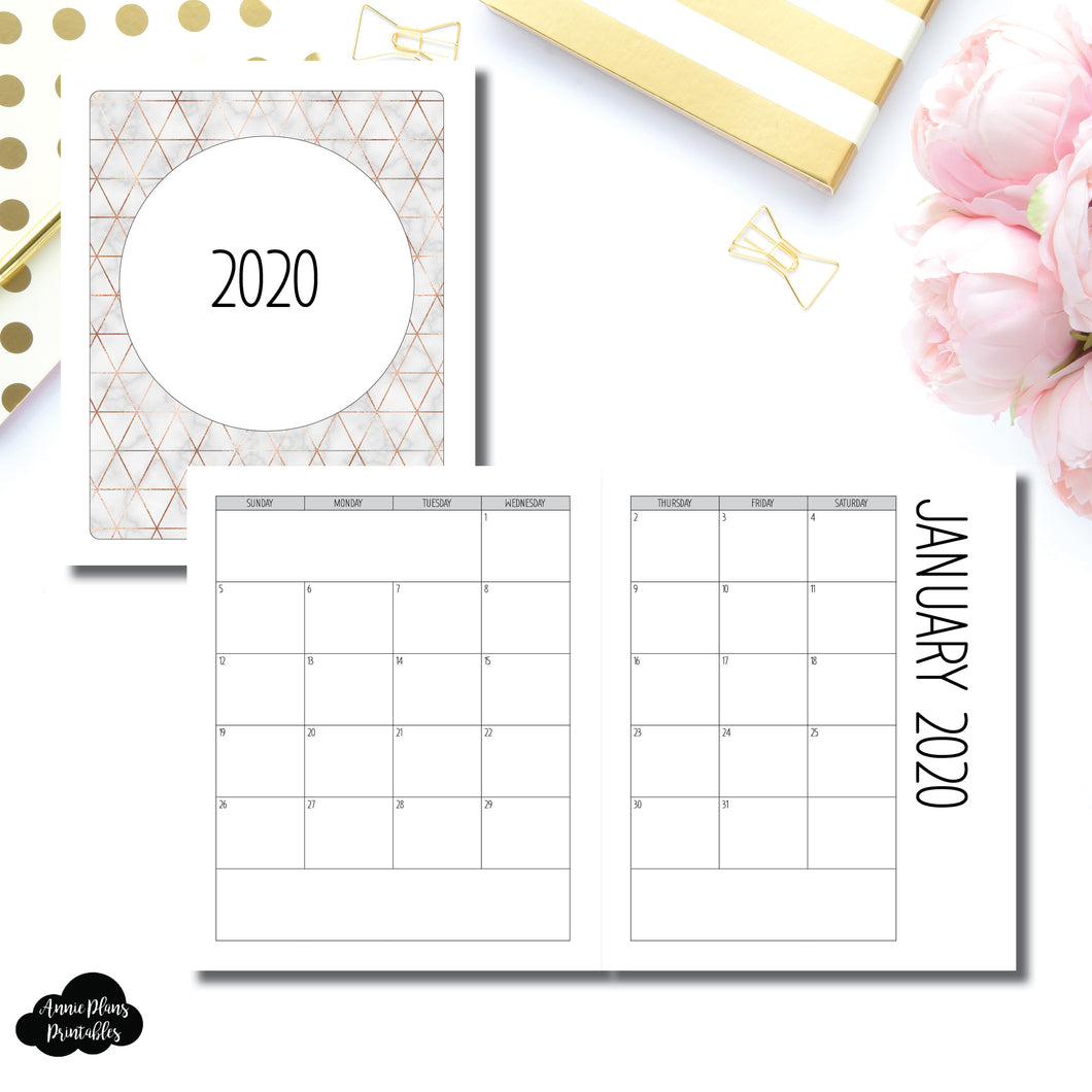 A5 Wide RIngs Size | 2020 SIMPLE FONT Monthly Calendar (SUNDAY Start) PRINTABLE INSERT ©