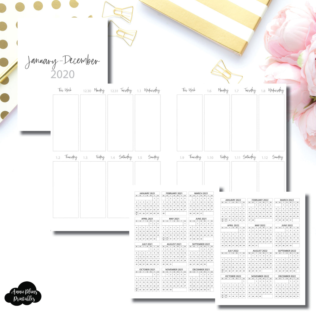 A5 Wide Rings Size | 2020 Vertical Week on One Page Printable Insert