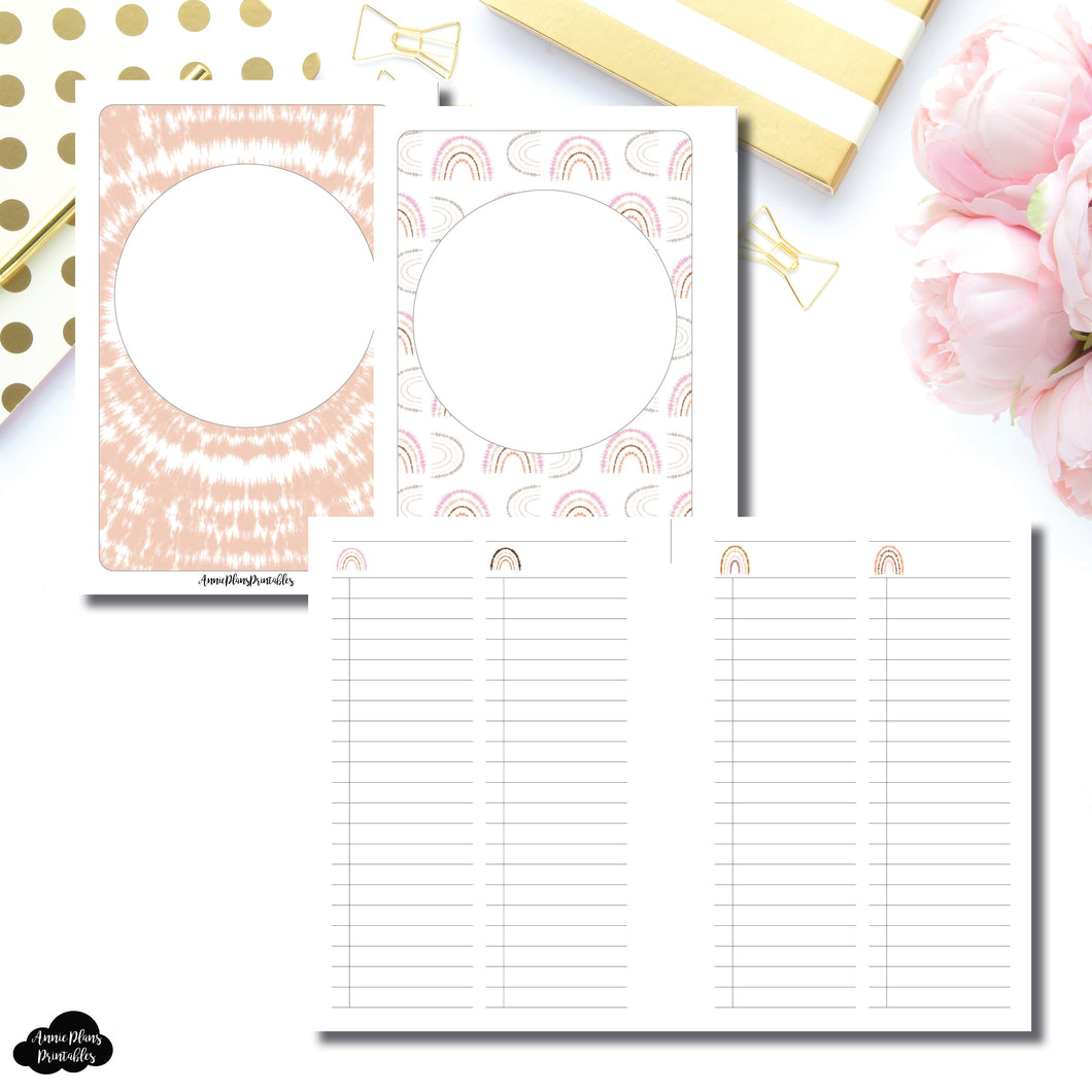 A6 TN Size | Boho Rainbow Two Column List Printable Insert