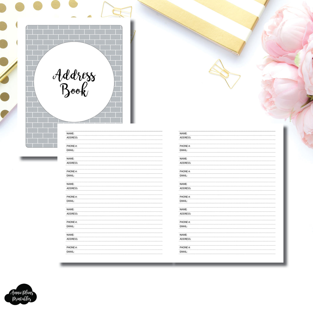 A5 Wide Rings SIZE | Address Book Printable Insert ©