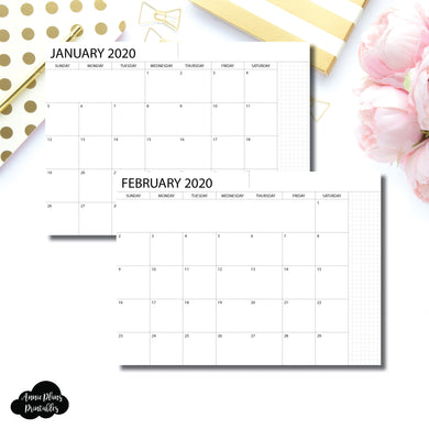 A5 Notebook Size | 2020 Monthly Printable Insert