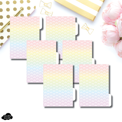Pocket Ring Dividers | Rainbow Gradient 6 Side Tab Printable Dividers