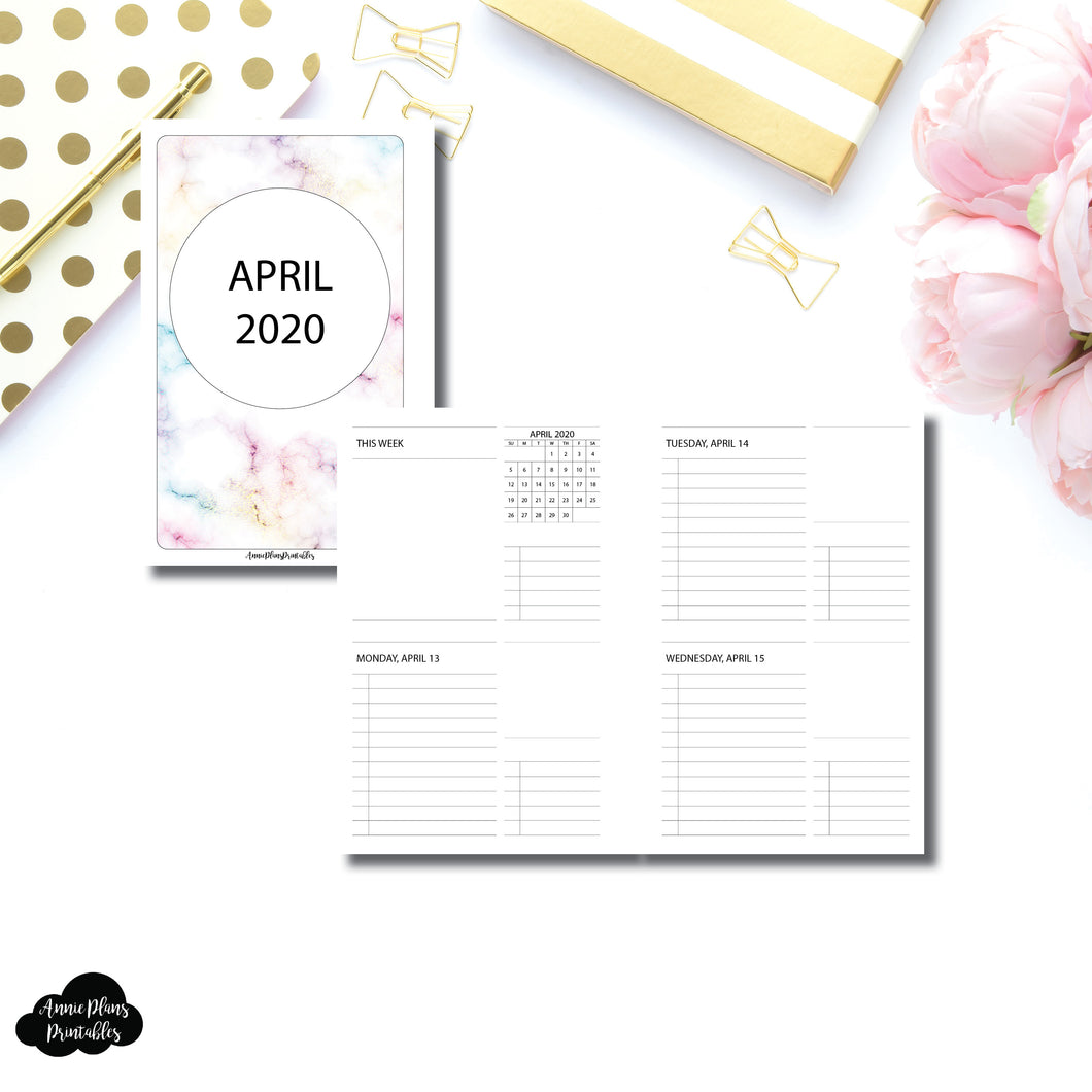 Mini HP Size | APR - DEC 2020 Untimed Daily Week on 4 Pages Printable Insert
